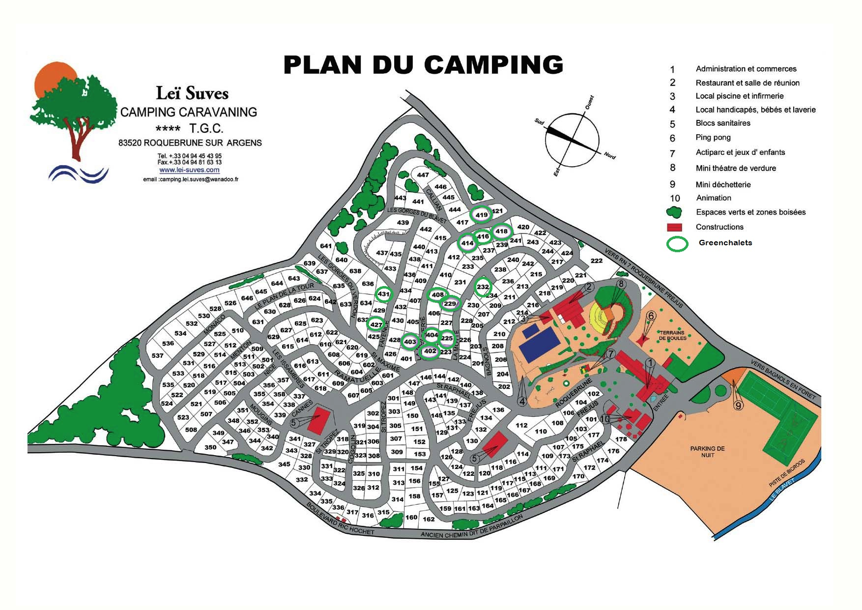 Greenchalets plattegrond camping Lei Suves Roquebrune
